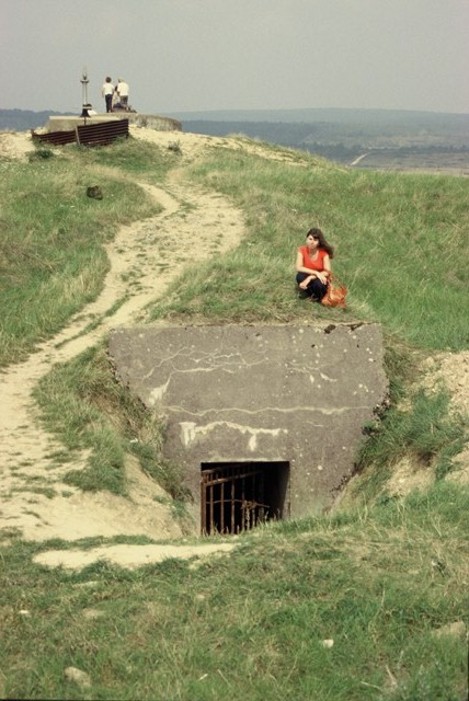 My sister on top of entrance to a trench on Verdun Battlefield