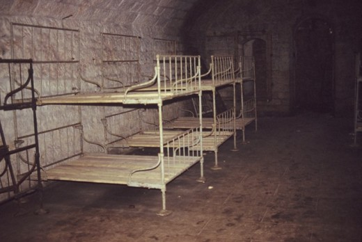 Soldiers bunks inside Fort Douaumont  at Verdun