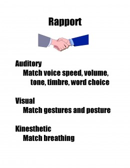 Rapport is easier to achieve when all the sensory systems are used