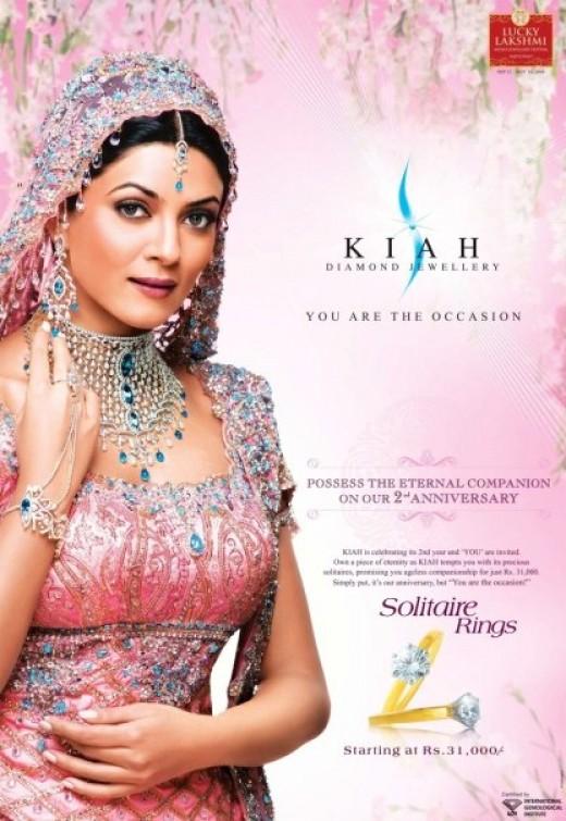 Sushmita Sen - showing off new trendy Bridal Jewelry in Diamond