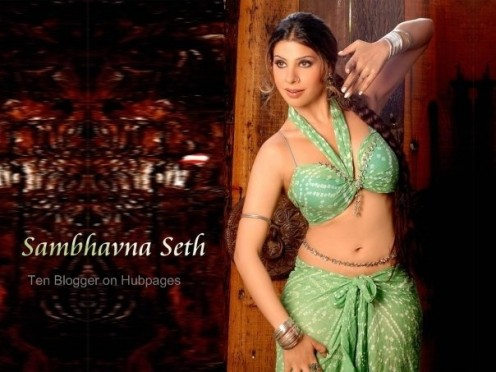 Sambhavana Seth - Hot Green saree - south actress