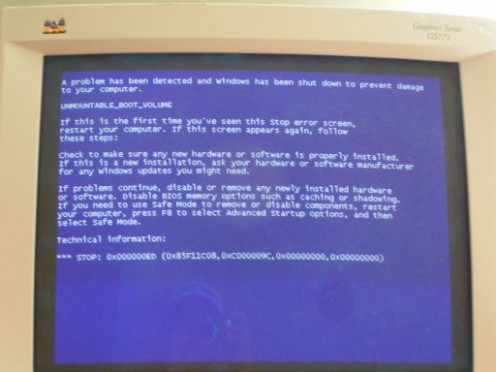 Any attempt to boot resulted in the Blue Screen of Death (BSOD)