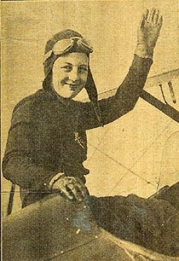 Noted stunt flier, Freddie Lund, was killed in a crash at Lexington, Ky., on Oct. 3. He had promised to participate in the Jersey City Air Show for unemployed. Here's flier who will take his place. . . Mrs. Freddie Lund, his widow. Carry on!