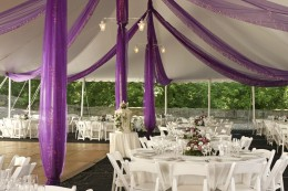 Don't forget leg skirts and special lighting for your wedding tent