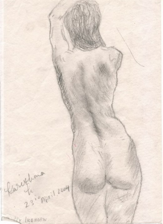 Pencil sketch of woman's back