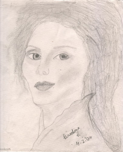 pencil drawing of haughty lady