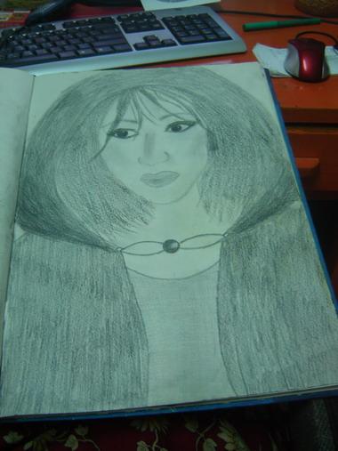 drawing of a random girl wearing a hooded cloak