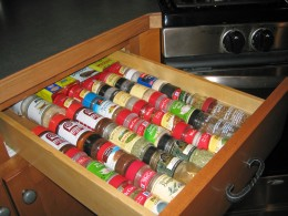 Spice drawers work well to keep spices organized and within reach.