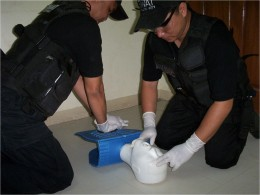 the author with fellow SWAT medic performing CPR