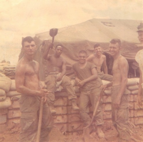 Micky Dee, Clark, Dabney, Blackwell, Flannigan at Camp Carroll near the DMZ, Vietnam