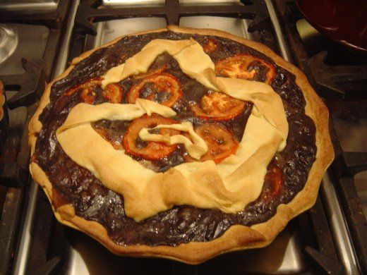 top with swirl of pastry or strips arranged to form a lattice