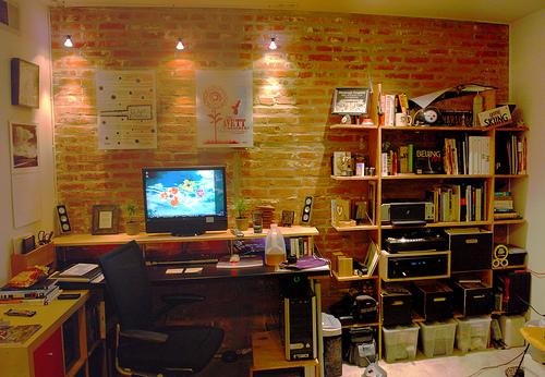 Office with impressive pine office desk set up.