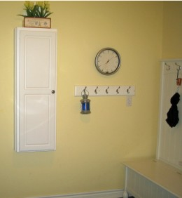 coat hooks and clock