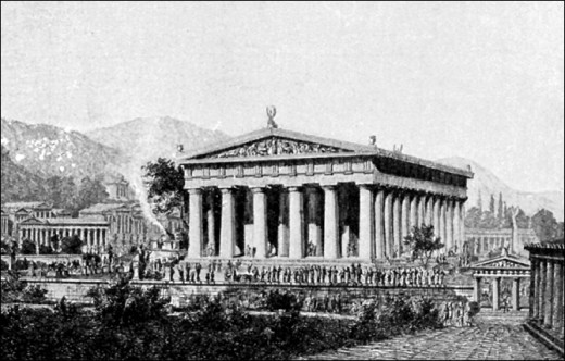 An artist's illustration of The Temple of Zeus