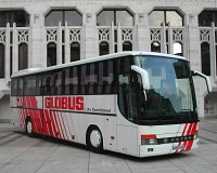 Typical bus used for guided bus tour of Europe. This one is owned by Globus, a popular tour company.