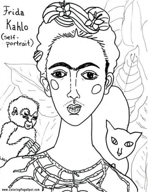 frida kahlo coloring pages - frida kahlo free coloring pages