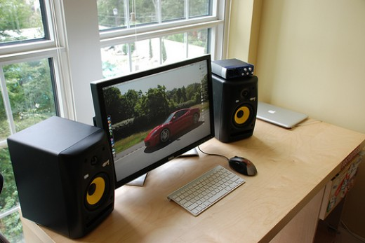 I'm including this image so you can get a perspective on how large the Rokit Studio Speakers are in comparison to a typical Computer Desk and LCD Monitor. Note the Fast Track DAC on top of the Right Speaker.
