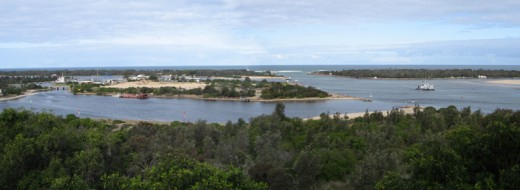 A panoramic view of Lakes Entrance
