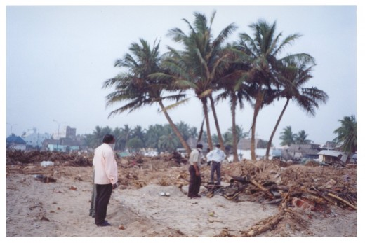 We are watching the damaged beach of Vailankanni.