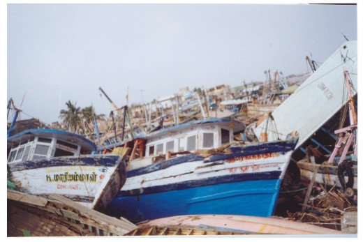 More than 100 boats were thrown out of sea and misplaced at random.