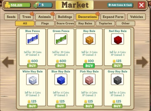 The unsung hero in leveling up, the regular hay bales which has a price tag of 100 Farmville coins a piece but each can give you a whopping 5 experience points.