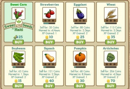 The crops that can be planted in Farmville. Grapes, sunflowers, lavenders, carrots and blackberries are my favorites.