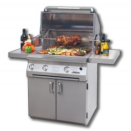 This grill is infrared and has a blue-flame burner, steamer/fryer, smoker, wok ring, bbq tray and a griddle attachment.