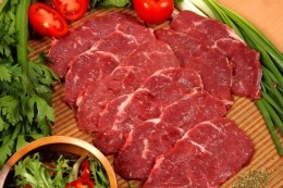 We used thinly sliced chuck steak that looked like this.