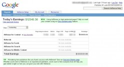 Fake AdSense Earnings report from googleadsensegenerator.com, one of MANY ways to get fake AdSense Reports.