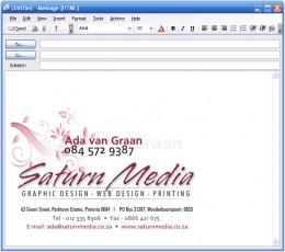 See how this email signature jumps out? Online business promotion via email is a great way to be seen.