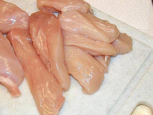 Always think bacteria safety when working with raw chicken.