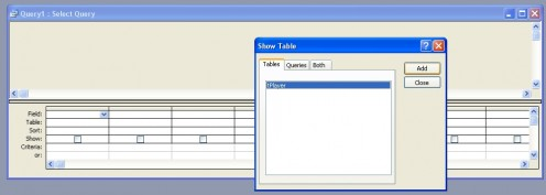 Add the table to the new query