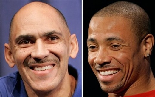 Tony Dungy on the left; and Rodney Harrison on the right.