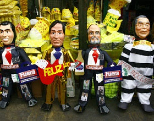 Dolls to be burnt on the 31st december.  They represent Peruvian politicians and personalities.