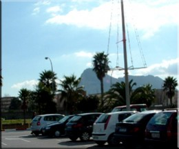 This is the carpark at a supermarket about 20 minutes drive away. You can see the Rock of Gibraltar just off the shore.