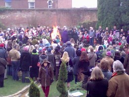 Winter Solstice.  A collection of Pagans at Worship.  Glastonbury, The Healing Spring of Chalice Well.