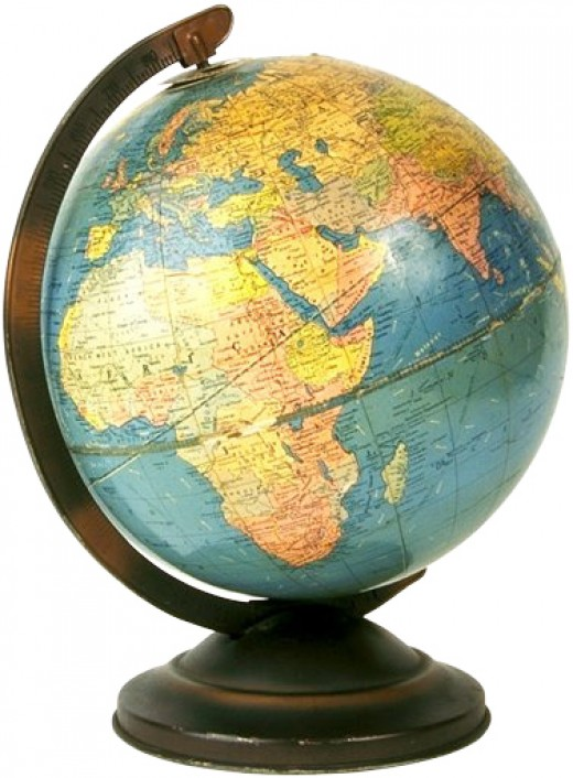 Globe with colorful continents in yellow/orange and blue/green oceans
