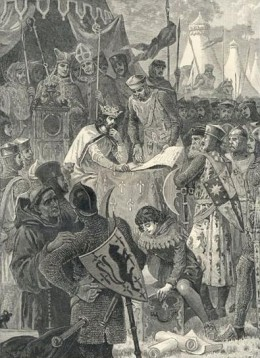 Illustration of John and the Barons at Runnymede signing Magna Carta on June 15, 1215.