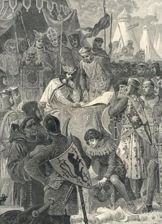 Illustration of John and the Barons at Runnymede signing Magna Carta on June 15, 1215.