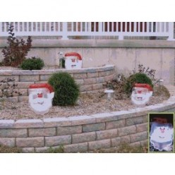 Inflatable Santa or Snowman Heads Glow with Solar Light