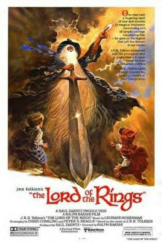 Movie poster from the original 1978 Lord of the Rings film directed by Ralph Bakshi.