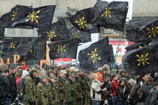 Demonstration of Russian Nationalists last winter demanding the return of the Soviet Union.
