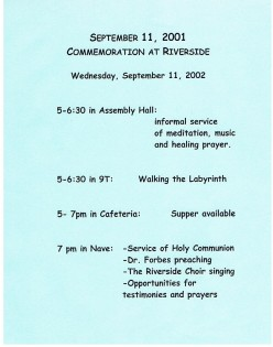 A flier describing an anniversary commemoration at the Riverside Church in Harlem. Did you know the Nave in it measures 96x64 feet and with its two balconies, seats about 1900?
