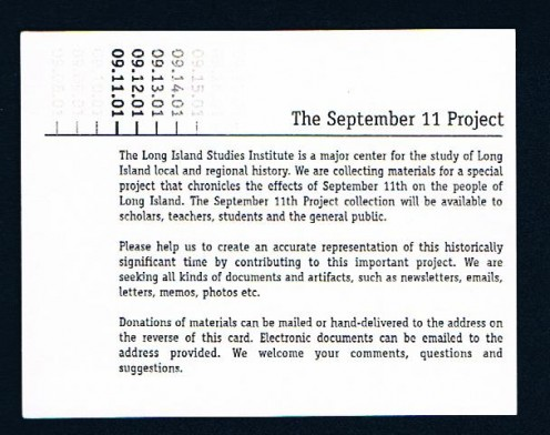 Front of a card from The September 11 Project, obtained when I had a video job at Hofstra University on Long Island.