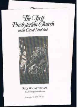 The front of program from First Presbyterian Church on W. 12th St.