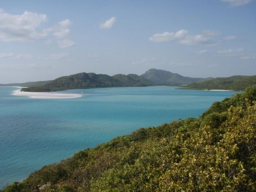 The whitsunday passage with whitsunday Island in the background.
