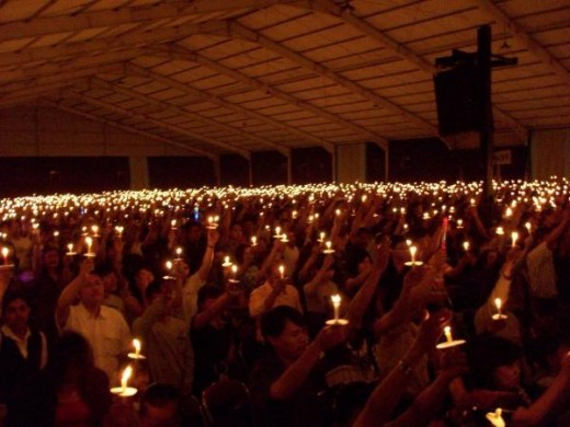 The candlelight service on 2008 Christmas in my church - Bandung