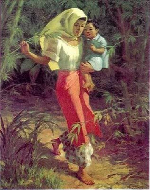 Woman with carrying a child