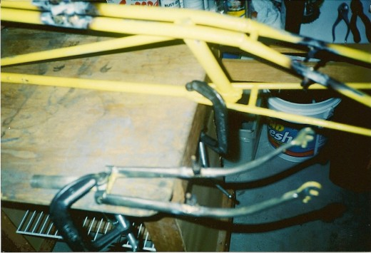 Another look at the frame. The welds for the brake bosses can be seen as well as the weld for the chain tensioner.