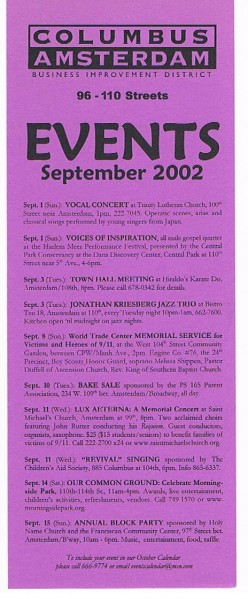 Front of a monthly COLUMBUS AMSTERDAM September 2002 events calendar I obtained at the Cathedral of St. John the Divine on Amsterdam Ave.